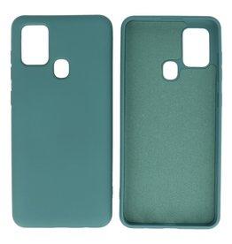 Samsung Galaxy A21s Hoesje Fashion Backcover Telefoonhoesje Donker Groen