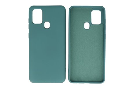 Fashion Color Backcover Hoesje voor Samsung Galaxy A21s Donker Groen