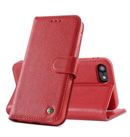 Echt Lederen Book Case Hoesje iPhone SE 2020 / 8 / 7 - Rood
