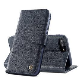 Echt Lederen Book Case Hoesje iPhone 8 Plus / 7 Plus - Plus Navy
