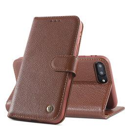 Echt Lederen Book Case Hoesje iPhone 8 Plus / 7 Plus - Bruin