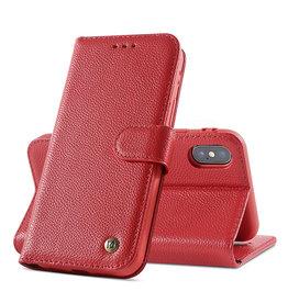 Echt Lederen Book Case Hoesje iPhone X / Xs - Rood
