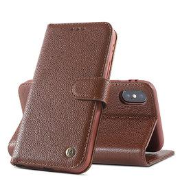 Echt Lederen Book Case Hoesje iPhone X / Xs - Bruin