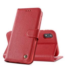 Echt Lederen Book Case Hoesje iPhone XR - Rood