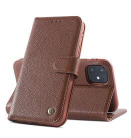 Echt Lederen Book Case Hoesje iPhone 11 - Bruin