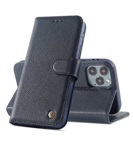 Echt Lederen Book Case Hoesje iPhone 11 Pro Max - Navy