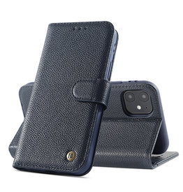 Echt Lederen Book Case Hoesje iPhone 12 Mini - Navy