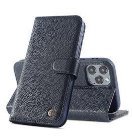 Echt Lederen Book Case Hoesje iPhone 12  / 12 Pro - Navy
