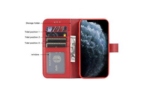 Echt Lederen Book Case Hoesje - Leren Portemonnee Telefoonhoesje - Geschikt voor iPhone 12  / iPhone 12 Pro - Rood