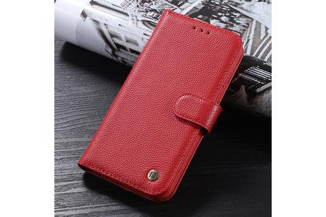 Echt Lederen Book Case Hoesje voor iPhone 12  / 12 Pro - Rood