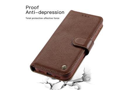 Echt Lederen Book Case Hoesje - Leren Portemonnee Telefoonhoesje - Geschikt voor iPhone 12  / iPhone 12 Pro - Bruin