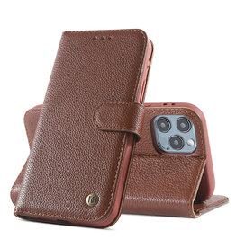 Echt Lederen Book Case Hoesje iPhone 12  / 12 Pro - Bruin