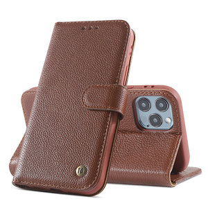 Echt Lederen Book Case Hoesje voor iPhone 12  / 12 Pro - Bruin