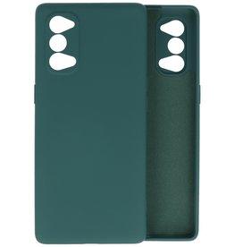 Oppo Reno 4 5G Hoesje Fashion Backcover Telefoonhoesje Donker Groen