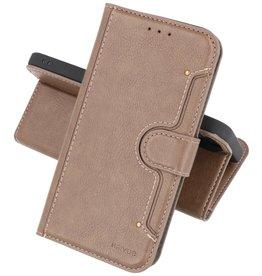 KAIYUE - Luxe Portemonnee Hoesje iPhone 12 -12 Pro - Grijs