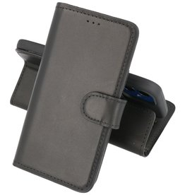Handmade Lederen Book Case Telefoonhoesje iPhone 12 Mini - Zwart