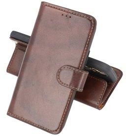 Krasvrij Handmade Lederen Book Case Telefoonhoesje iPhone 12 Pro Max - Mocca