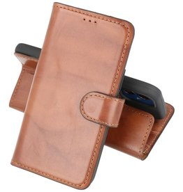 Krasvrij Handmade Lederen Book Case Telefoonhoesje iPhone 12 Mini - Bruin
