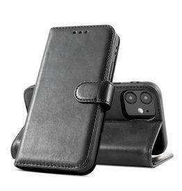 Klassiek Design Echt Lederen Telefoonhoesje iPhone 12 Mini - Zwart