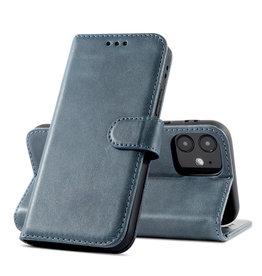 Klassiek Design Echt Lederen Telefoonhoesje iPhone 12 Mini - Navy
