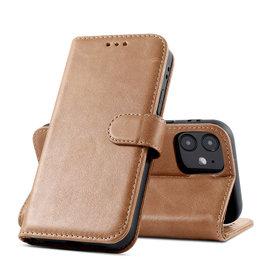 Klassiek Design Echt Lederen Telefoonhoesje iPhone 12 Mini - Cognac