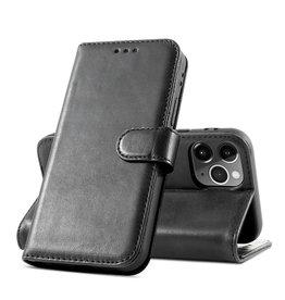 Klassiek Design Echt Lederen Telefoonhoesje iPhone 12 - 12 Pro - Zwart