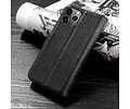 Klassiek Design - Echt Lederen Hoesje - Book Case Portemonnee Telefoonhoesje - Geschikt voor iPhone 12 - iPhone 12 Pro - Zwart