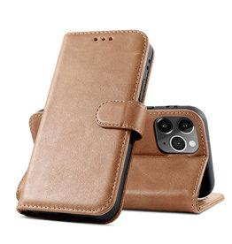 Klassiek Design Echt Lederen Telefoonhoesje iPhone 12 - 12 Pro - Cognac