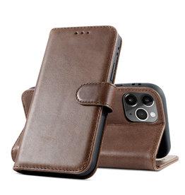 Klassiek Design Echt Lederen Telefoonhoesje iPhone 12 - 12 Pro - Mocca