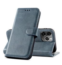Klassiek Design Echt Lederen Telefoonhoesje iPhone 12 Pro Max - Navy