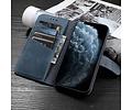 Klassiek Design - Echt Lederen Hoesje - Book Case Portemonnee Telefoonhoesje - Geschikt voor iPhone 12 Pro Max - Navy
