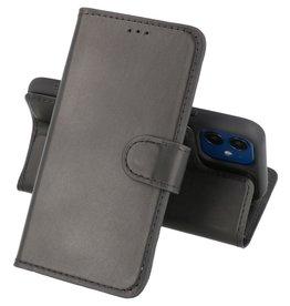 2 in 1 Handmade Lederen Book Case Telefoonhoesje iPhone 12 Mini - Zwart