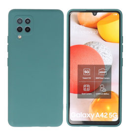 Fashion Color Backcover Hoesje Samsung Galaxy A42 5G Donker Groen