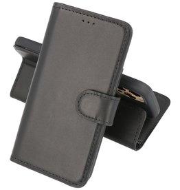 Handmade Lederen Book Case Telefoonhoesje iPhone 12 - 12 Pro - Zwart