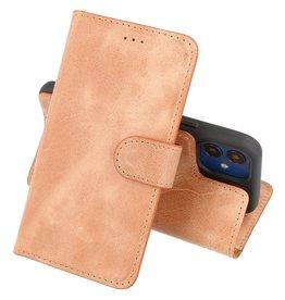 Handmade Lederen Book Case Telefoonhoesje iPhone 12 Mini - Zand Bruin