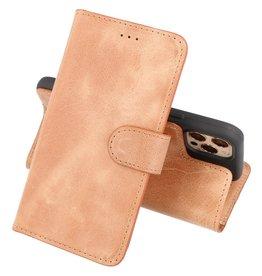 Handmade Lederen Book Case Telefoonhoesje iPhone 12 Pro Max - Zand Bruin