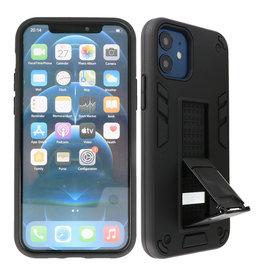 Stand Hardcase Backcover iPhone 12 Mini Zwart