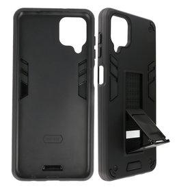 Stand Hardcase Backcover Samsung Galaxy A12 Zwart