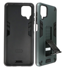 Stand Hardcase Backcover Samsung Galaxy A12 Donker Groen