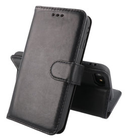 Klassiek Design Echt Lederen Telefoonhoesje iPhone SE 2020 Zwart