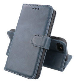 Klassiek Design Echt Lederen Telefoonhoesje iPhone SE 2020 Navy