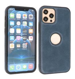 BAOHU Lederen Hoesje Backcover iPhone 12 - 12 Pro Navy