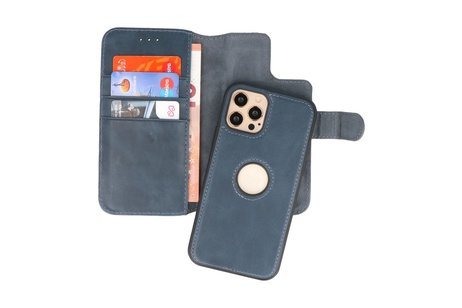 BAOHU - Uitneembare Leder Book Case - Echt Lederen Hoesje - Portemonnee Telefoonhoesje - Geschikt voor iPhone 12 - iPhone 12 Pro - Navy