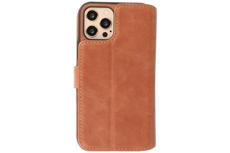 BAOHU - Uitneembare Leder Book Case - Echt Lederen Hoesje - Portemonnee Telefoonhoesje - Geschikt voor iPhone 12 - iPhone 12 Pro - Cognac