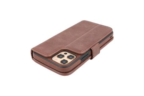 BAOHU - Uitneembare Leder Book Case - Echt Lederen Hoesje - Portemonnee Telefoonhoesje - Geschikt voor iPhone 12 - iPhone 12 Pro - Mocca