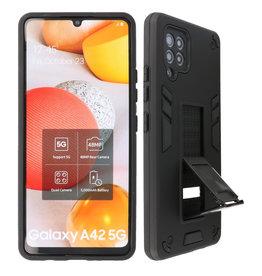 Stand Hardcase Backcover Samsung Galaxy A42 5G Zwart