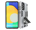 Stand Shockproof Telefoonhoesje - Magnetic Stand Hard Case - Grip Stand Back Cover - Backcover Hoesje voor Samsung Galaxy A52 5G - Zilver
