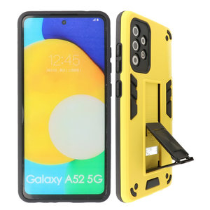 Stand Shockproof Telefoonhoesje - Magnetic Stand Hard Case - Grip Stand Back Cover - Backcover Hoesje voor Samsung Galaxy A52 5G - Geel