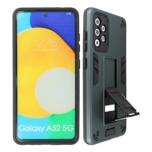 Stand Shockproof Telefoonhoesje - Magnetic Stand Hard Case - Grip Stand Back Cover - Backcover Hoesje voor Samsung Galaxy A52 5G - Donker Groen