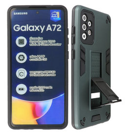 Stand Hardcase Backcover Samsung Galaxy A72 5G Donker Groen
